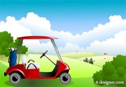 Golf course under the blue sky Vector material