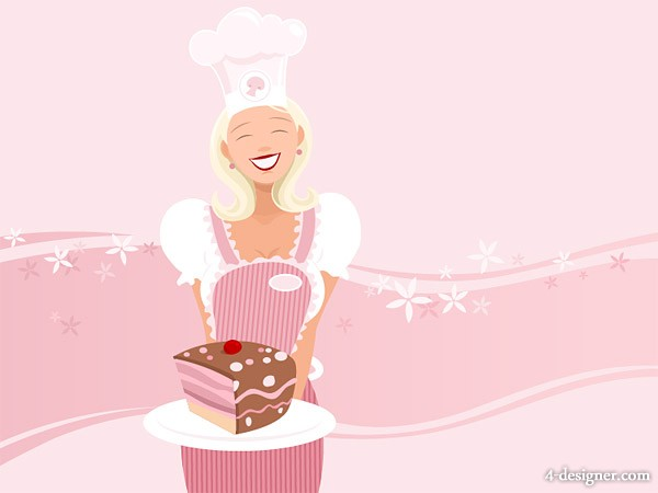 Making pastry girl vector material