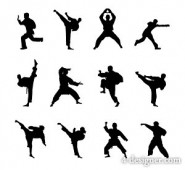 Martial arts kung fu characters silhouette icon material