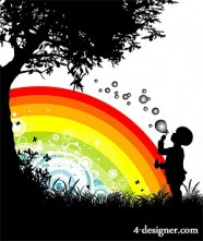 People, trees, flowers and silhouette with rainbow vector material