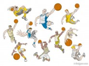 Playing basketball cartoon characters vector material