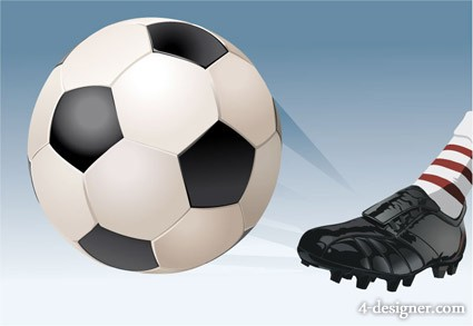 Playing soccer vector material