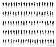 Professional men and women silhouette vector material