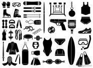 Silhouette elements vector material   Sports equipment, equipment 51 elements
