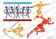 Sports figures vector material