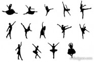 The ballet action figures silhouette vector material