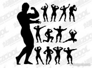 The bodybuilding action figures silhouette vector material