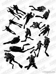 The diving sports figures silhouette vector
