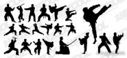 The martial action figures silhouette vector material