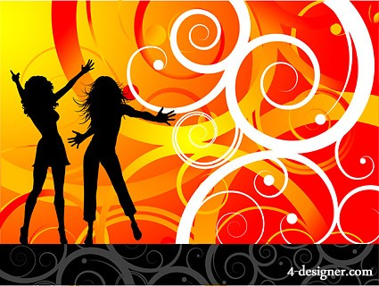 Tide of the party female characters silhouette vector material