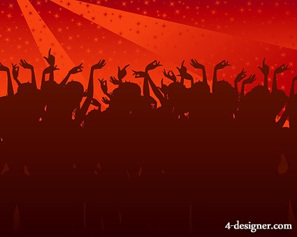 Trend of party figures silhouette vector material