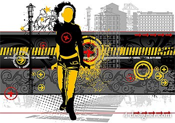Urban elements with the trend figures vector material