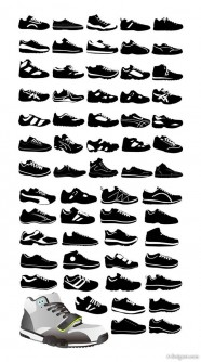 Variety of sports shoes vector material