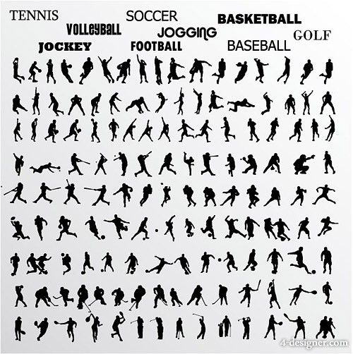 Various athletes action silhouette vector material