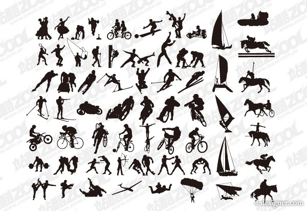 Various sports action silhouette vector material  2
