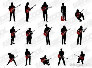 play guitar figure silhouette vector material
