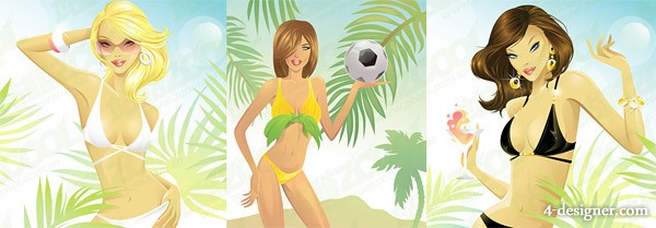 Foreign swimsuit woman vector material