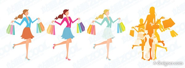 fashion shopping female illustrator vector material