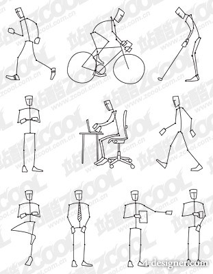 simple line drawings the Action Figure vector