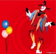 Balloons and clown vector material
