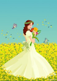 Bride vector material flowers