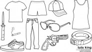 Male clothing to wear the the items line drawing vector material