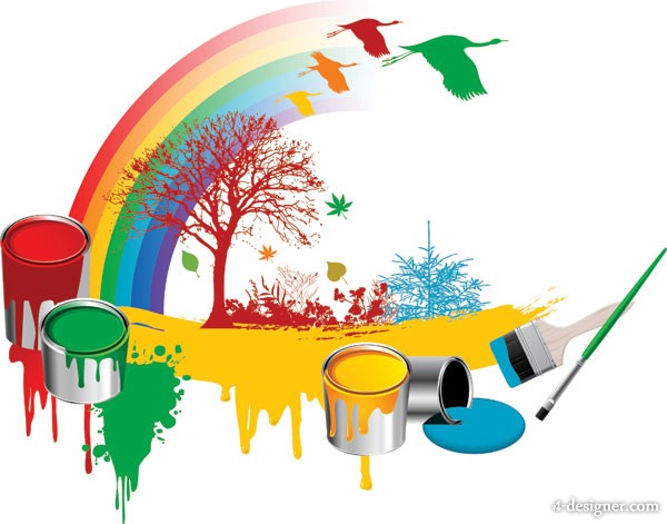 Paint bucket the rainbow trees Dayan vector material