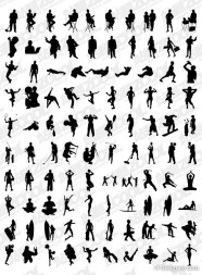 The 1000 various silhouettes album vector material  02
