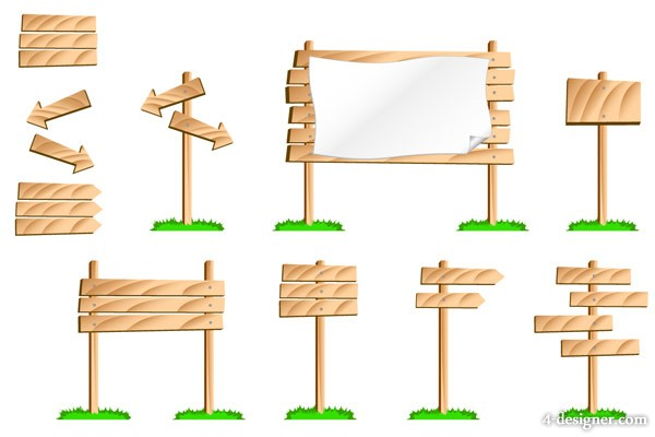 Wood bulletin board signs vector material the