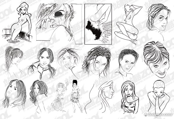 18 models sketch style figures vector material