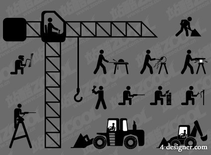 construction workers Matchstick Men vector material