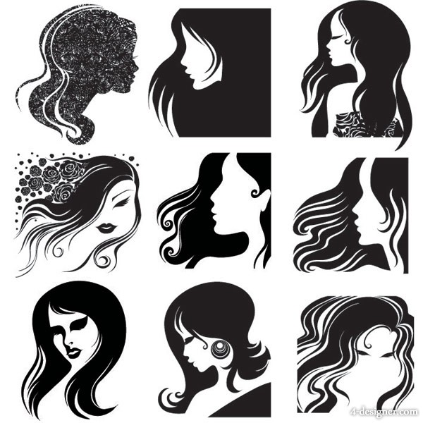 female head silhouette vector material