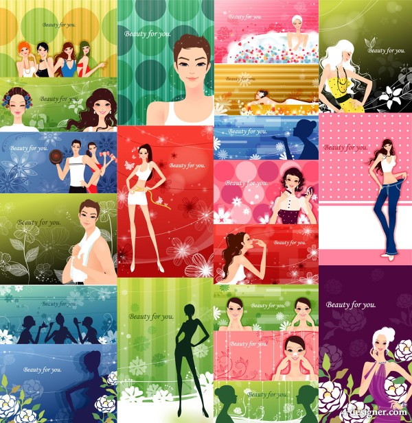 Fashion Women and patterns of plant vector material  2