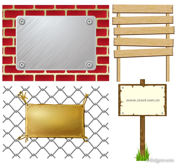 4 signs signs the doorplate vector material