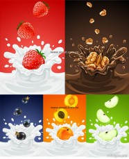 5 paragraph fruits fall in the milk instantly Vector