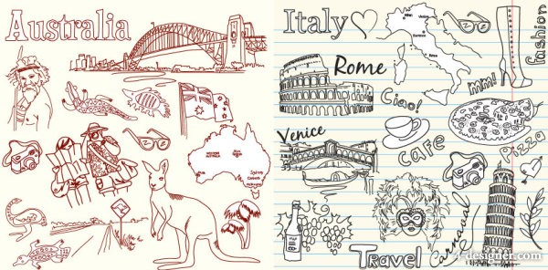 Australia and Italy theme vector material