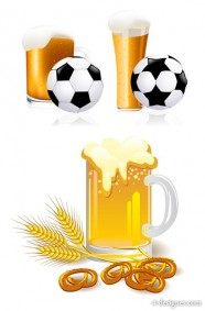 Beer and football vector material