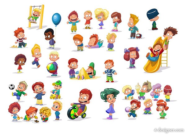 4 Designer Cute Cartoon Children Vector Material