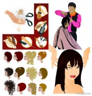 Hairdressing theme vector material