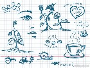 Hand painted plant coffee, and other elements of vector material