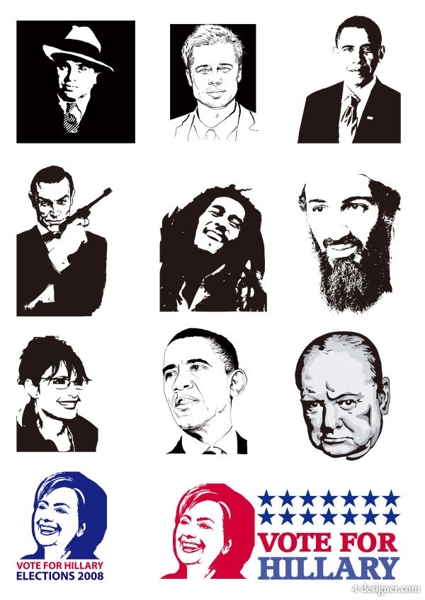 Many foreign well known figures vector material