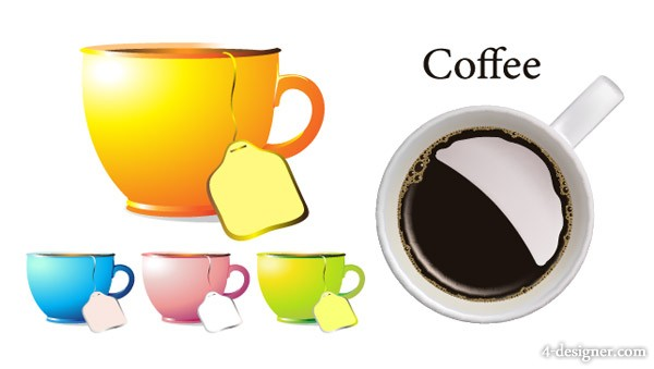 Tea cup and coffee cup vector material