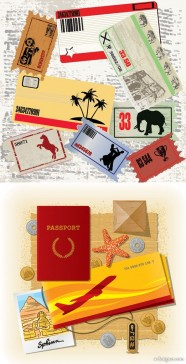 The travel theme vector material