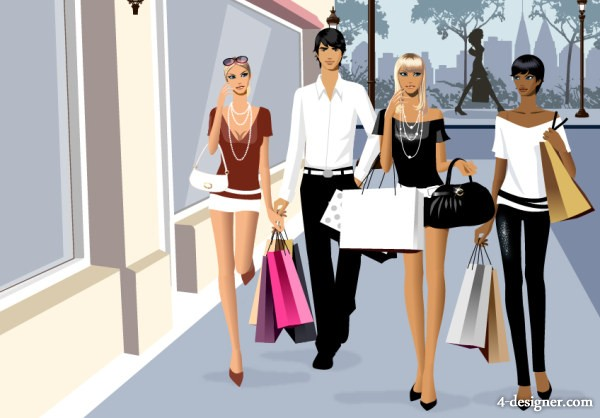 the fashion shopping vector material for men and women