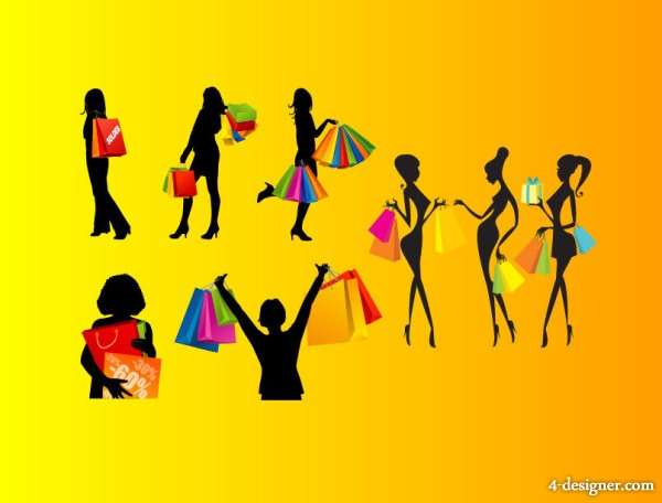 Shopping women silhouettes vector material
