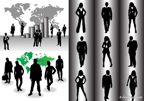 business people silhouette vector material