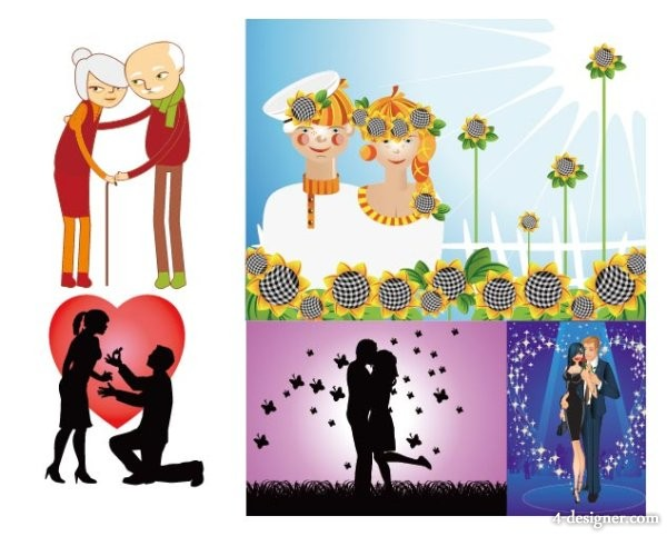 couple of happy couples and couples Vector