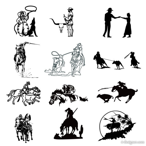 cowboy series of black and white paintings vector material