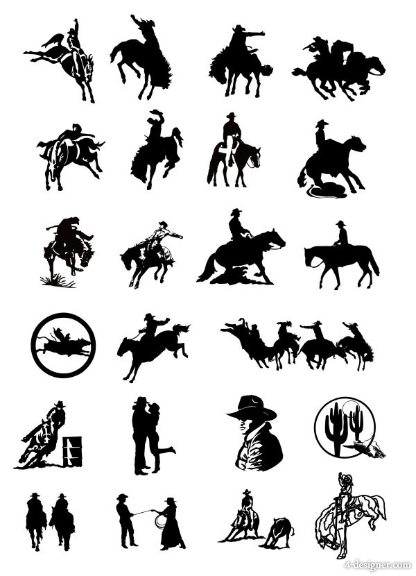 black and white painting cowboy series two vector material
