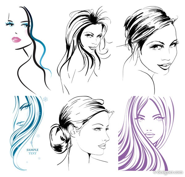 hand painted women vector material